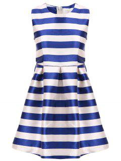 White Blue Stripe Red Belt Sleeveless Dress - Stripe S