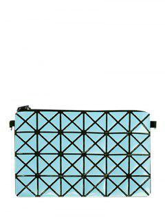 Checked Candy Color Foldable Clutch Bag - Blue