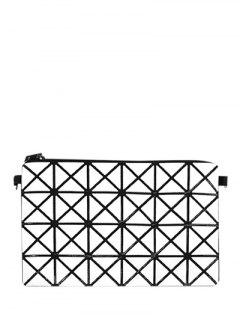 Checked Candy Color Foldable Clutch Bag - White