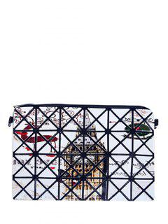 Checked Cartoon Print Foldable Clutch Bag - White