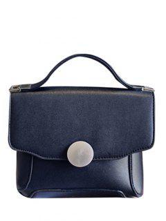PU Leather Metal Solid Color Tote Bag - Black