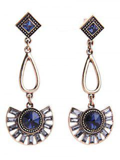 Faux Sapphire Fan-Shaped Earrings - Blue