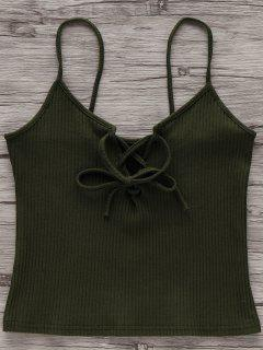 Solid Color Cami Lace Up Tank Top - Army Green Camouflage M