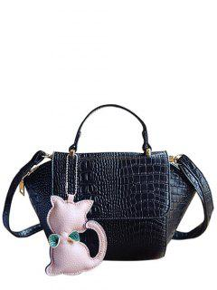 Crocodile Print Cat Pendant Tote Bag - Black
