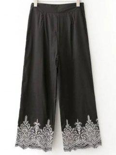 Embroidered Wide Leg Pants - Black S