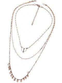 Heart Multilayered Detachable Necklace - Golden