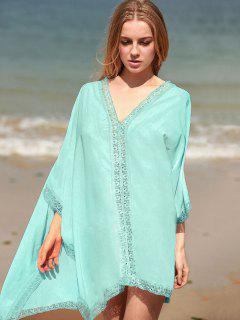 Solid Color Lace Border V Neck Bat-Wing Sleeve Dress - Light Green