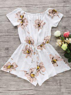 Floral Print Off The Shoulder Drawstring Romper - White S