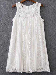 Mix Lace Pleated Dress - White S
