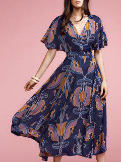 Géométriques Plongeant Cou à Manches Courtes Maxi Dress - Bleu Foncé S