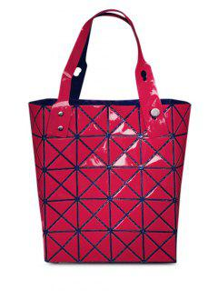 Geometric Pattern Solid Color Foldable Tote Bag - Red