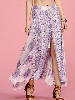 Ethnic Print High Waisted Slit Skirt - S