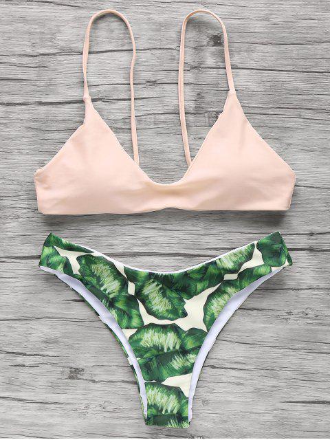 chic Spaghetti Straps Palm Tree Bikini - LIGHT APRICOT PINK L Mobile