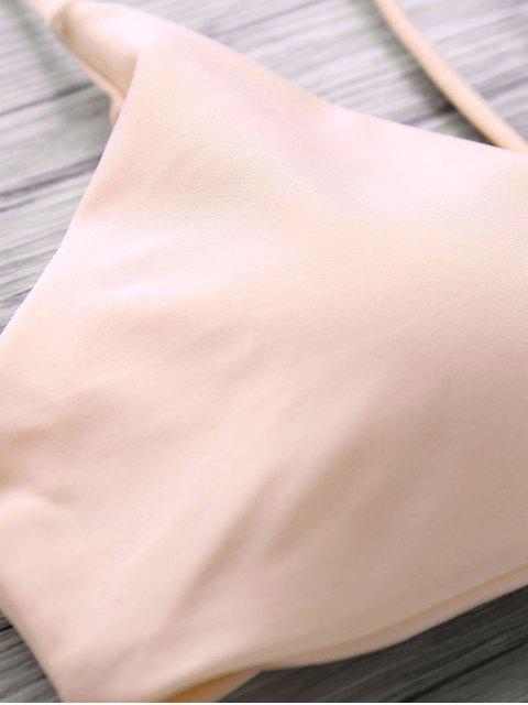 unique Spaghetti Straps Palm Tree Bikini - LIGHT APRICOT PINK S Mobile