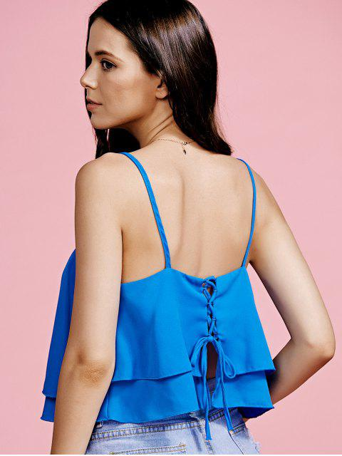 buy Ruffled Cami Pure Color Crop Top - BLUE L Mobile