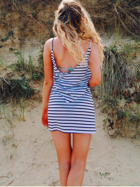 online Striped Backless Cami Overlay Dress - WHITE L Mobile