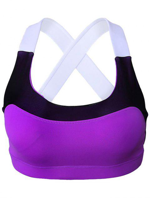 latest Sports Color Block Scoop Neck Crop Top - PURPLE S Mobile