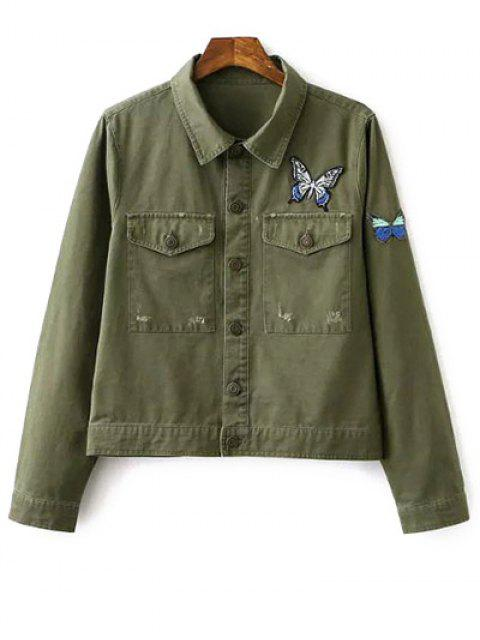 fashion Butterfly Embroidery Shirt Collar Jacket - ARMY GREEN S Mobile