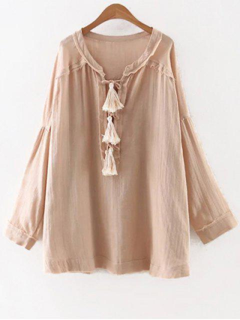 hot Solid Color Round Neck Long Sleeve Tassels Blouse - NUDE M Mobile