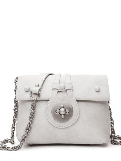 lady Hasp Chains Solid Color Crossbody Bag -   Mobile