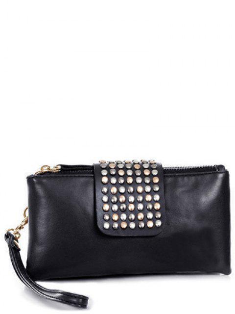latest Rivet Zips Solid Color Clutch Bag -   Mobile