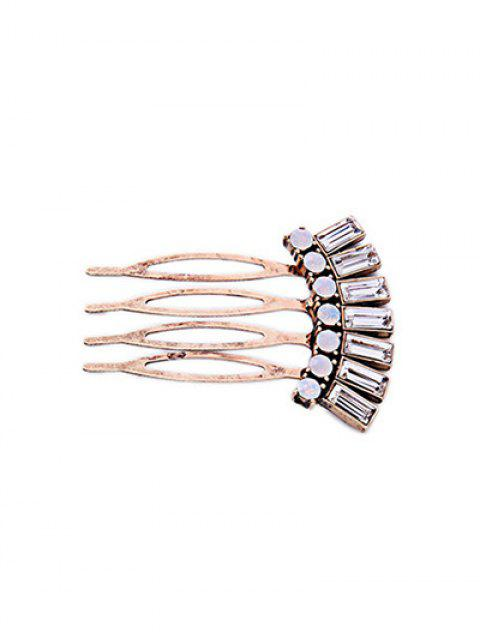 fancy Geometric Rhinestone Hair Comb - GOLDEN  Mobile