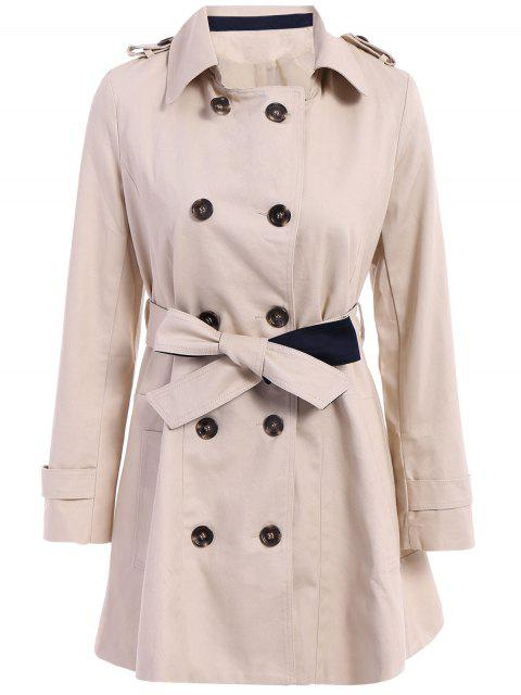Manteau ceinturé à couleur pure à encolure crantée à manches longues à double-boutonnage - Abricot S Mobile