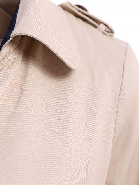 ladies Lapel Double-Breasted Belt Trench Coat - APRICOT L Mobile