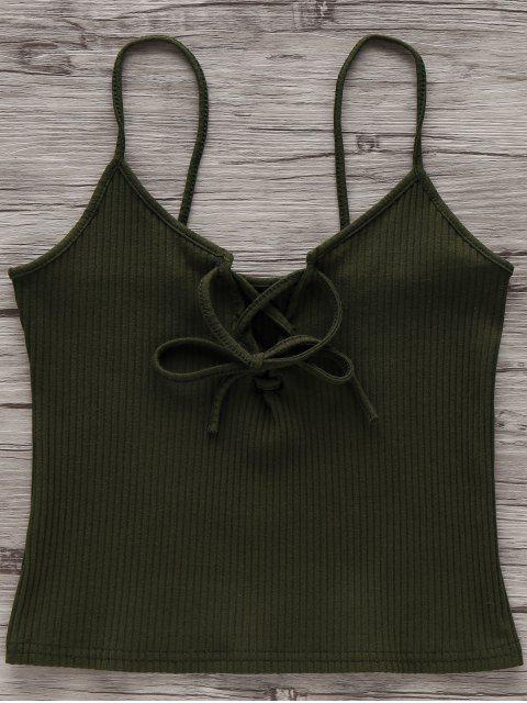 hot Solid Color Cami Lace Up Tank Top - ARMY GREEN CAMOUFLAGE M Mobile