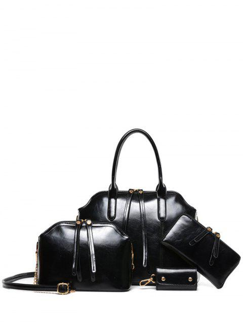 chic Zips Solid Color PU Leather Tote Bag -   Mobile