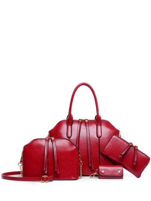 fashion Zips Solid Color PU Leather Tote Bag -   Mobile