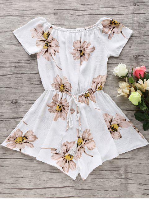lady Floral Print Off The Shoulder Drawstring Romper - WHITE S Mobile