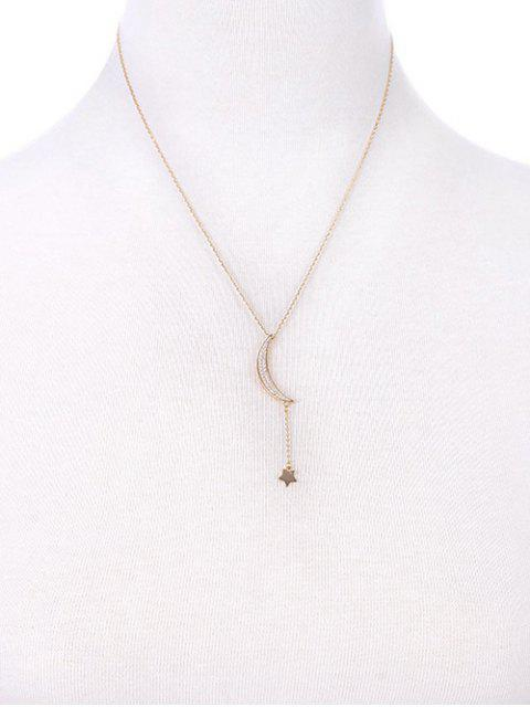 new Rhinestone Moon Star Pendant Necklace -   Mobile