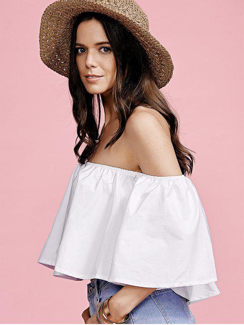 shop White Flounce Off The Shoulder Blouse - WHITE M Mobile