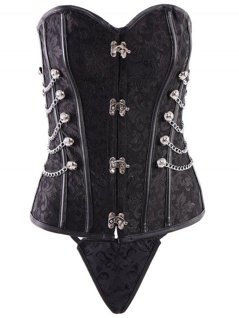 womens Alloy Chain Steampunk Lace Up Corset - BLACK 4XL Mobile
