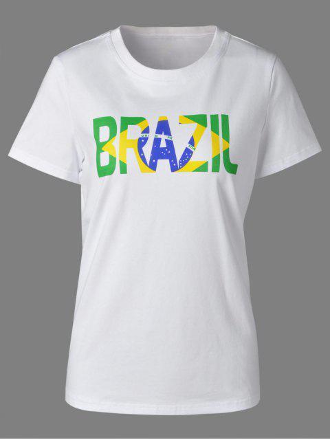 Lässige Rundhalsausschnitt-bunten Buchstaben drucken Kurzarm T-Shirt für Damen - Weiß L Mobile