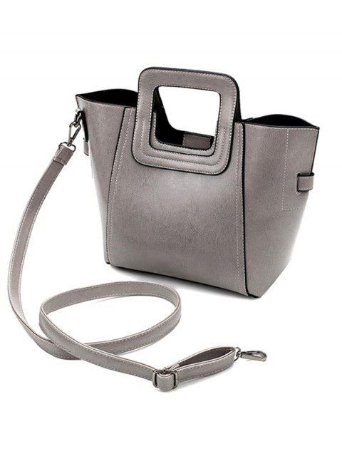 latest Stitching PU Leather Solid Colour Tote Bag -   Mobile
