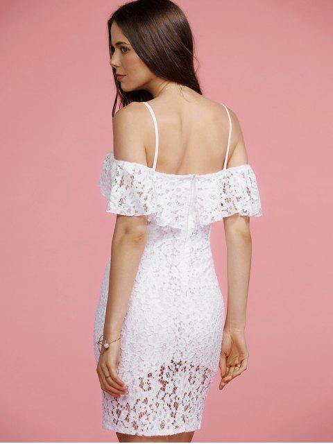women's Full Lace Cami White Bodycon Dress - WHITE XL Mobile