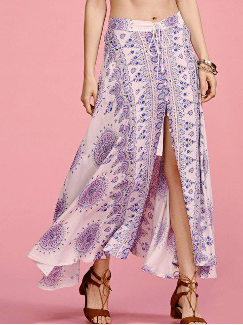 Ethnic Print cintura alta falda de hendidura - Colores Mezclados XL Mobile