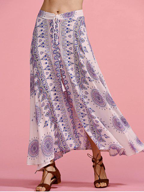 shops Ethnic Print High Waisted Slit Skirt - COLORMIX M Mobile