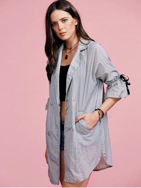 fashion Ruffle Sleeve Trench Coat - GRAY M Mobile