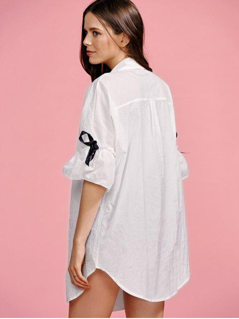 unique Ruffle Sleeve Trench Coat - WHITE L Mobile