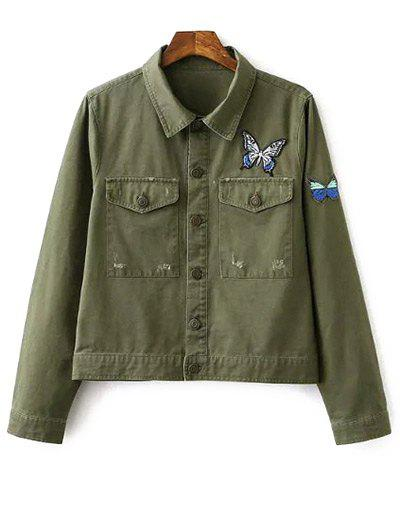Butterfly Embroidery Shirt Collar Jacket - Army Green L