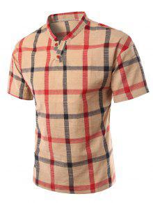 Stehkragen Abnehmen Karo Kurzarm Polo-T-Shirt Für Männer - Khaki M