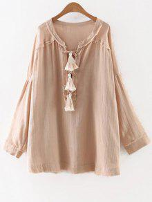 Buy Solid Color Round Neck Long Sleeve Tassels Blouse - NUDE L