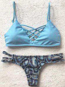 Printed Spaghetti Straps Bikini Set - Light Blue S