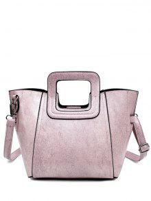 Buy Stitching PU Leather Solid Colour Tote Bag - PINK
