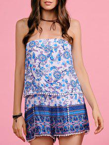 Lace Spliced Strapless Print Romper - Blue And White M