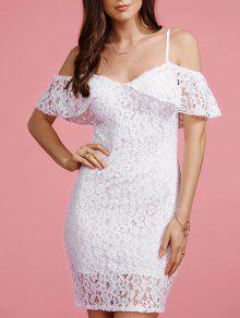 Full Lace Cami Blanc Robe Moulante - Blanc Xl