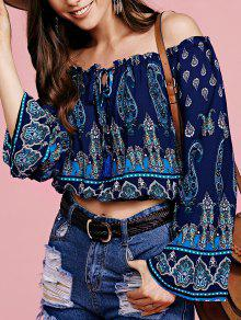Bohemian Printed Off The Shoulder Cropped Blouse - Purplish Blue S